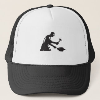Blacksmith Worker Forging Iron Black and White Woo Trucker Hat