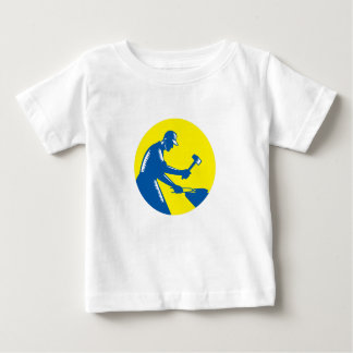 Blacksmith Worker Forging Iron Circle Woodcut Baby T-Shirt