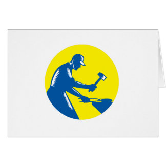 Blacksmith Worker Forging Iron Circle Woodcut Card