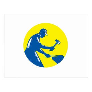 Blacksmith Worker Forging Iron Circle Woodcut Postcard