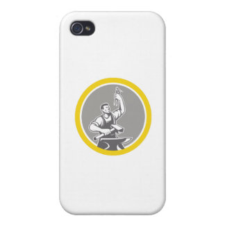 Blacksmith Worker Holding Pliers Anvil Circle Retr iPhone 4 Cover