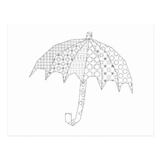 blackwork umbrella postcard