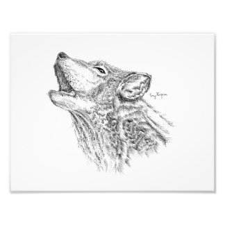 Blackwork Wolf Print Art Photo