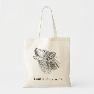 Blackwork Wolf Tote Bag