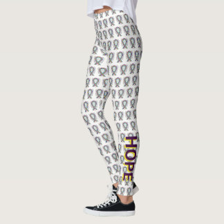 Bladder Cancer Awareness Ribbon Angel Leggings