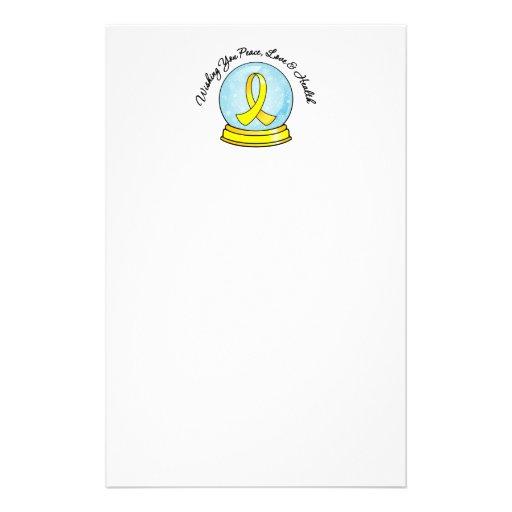 Bladder Cancer Ribbon Merry Christmas Snowglobe Stationery Paper