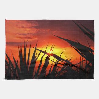 Blades of grass sunset beautiful scenery tea towel