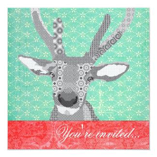Blak & White Reindeer Turquoise Red 13 Cm X 13 Cm Square Invitation Card