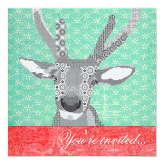 Blak & White Reindeer Turquoise Red 13 Cm X 13 Cm Square Invitation Card