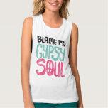 Blame My Gypsy Soul Watercolor Peace Sign Singlet