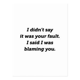 Blaming You Postcard