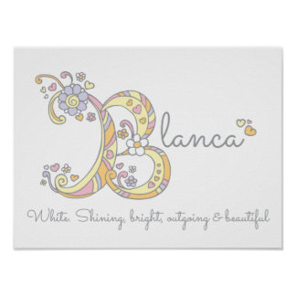 Blanca B initial doodle art name meaning Poster