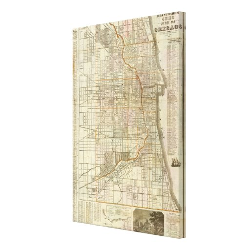 Blanchard's guide map of Chicago Gallery Wrapped Canvas