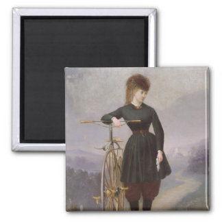 Blanche d'Antigny  and her Velocipede Square Magnet