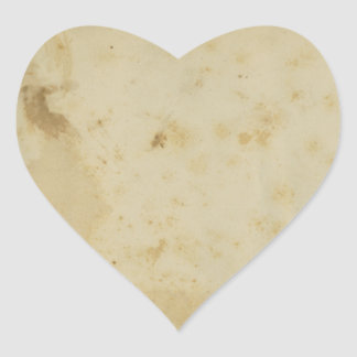 Blank Antique Stained 1870's Paper Heart Sticker