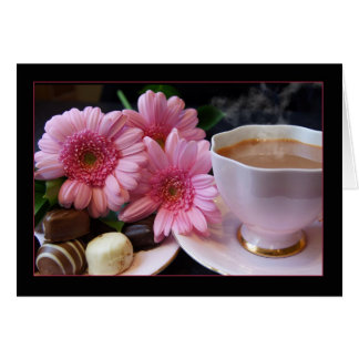 Blank Any Occasion, Note Card With Tea, Flowers An