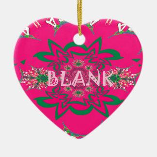 Blank baby vivid pink floral purple shade monogram ceramic heart decoration