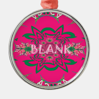 Blank baby vivid pink floral purple shade monogram Silver-Colored round decoration