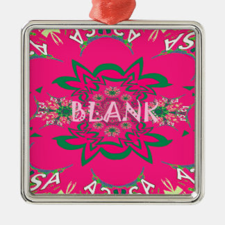 Blank baby vivid pink floral purple shade monogram Silver-Colored square decoration