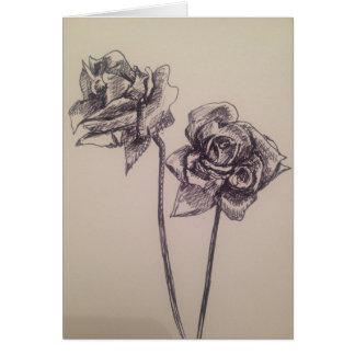 Blank Black Ink Roses Card