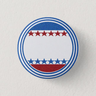 Blank Campaign Button Stars Stripes Glitter