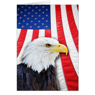 Blank card, bald eagle and flag greeting card