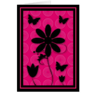 Blank Card Butterflies and Flowers Retro