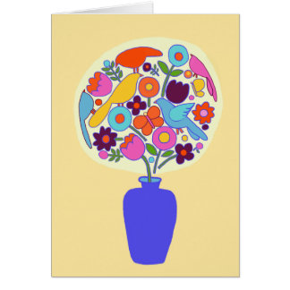Blank Card with Flowers Folk Art Style