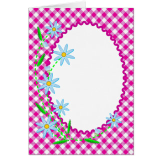 Blank Card with Gingham and Flowers
