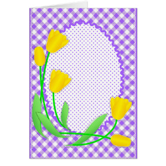 Blank Card with Gingham and Tulips