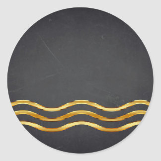 Blank  Chalkboard Gold Striped Curved Customize Classic Round Sticker