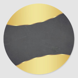 Blank Chalkboard Gold Striped  Customize Classic Round Sticker