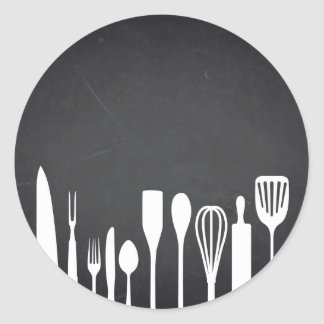 Blank  Chalkboard Kitchen Tools Customize Text Classic Round Sticker
