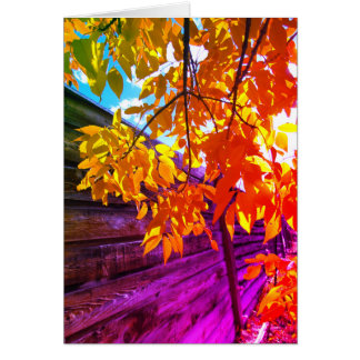 Blank Colorful Leaves Card
