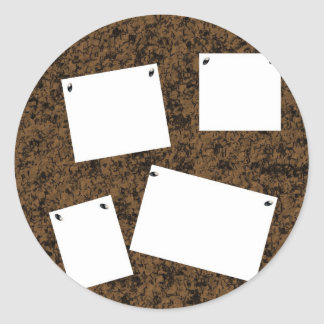 Blank Cork Board With Papers Round Sticker