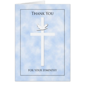 Blank Cross & Dove Sympathy Thank You Note Card