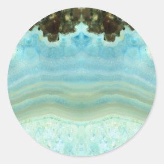 Blank Custom Trendy Chic Blue Gemstone Celebration Round Sticker