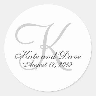 Blank Customisable Monogram Wedding Favour Round Sticker