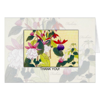 Blank Fuchia Flower Thank You Card -  Retro