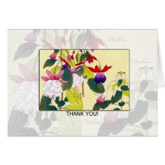 Blank Fuchia Flower Thank You Card -  Retro