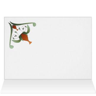 Blank Greeting Card Red Flower Vines