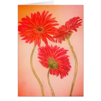 Blank greeting card watercolour flower painting