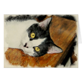 Blank Greeting Card with Cat