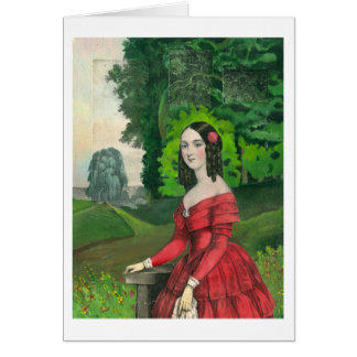 BLank Greeting Card Woman in Red Dress Landscape