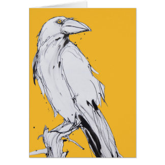 blank greetings card - yellow raven