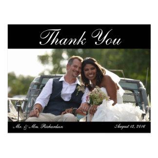 Blank - Horiz. B&W Custom Wedding Photo Thank You Postcard