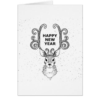 Blank Inside! Deer Illustration Happy New Years Card