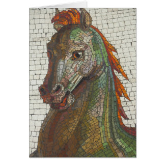 Blank Inside Mosaic Horse Greeting Card
