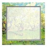 blank invitation. van Gogh Orchard in Blossom
