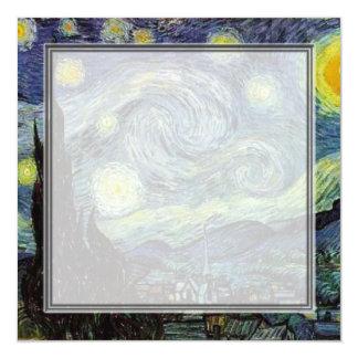 blank invitation, van Gogh starry night 13 Cm X 13 Cm Square Invitation Card